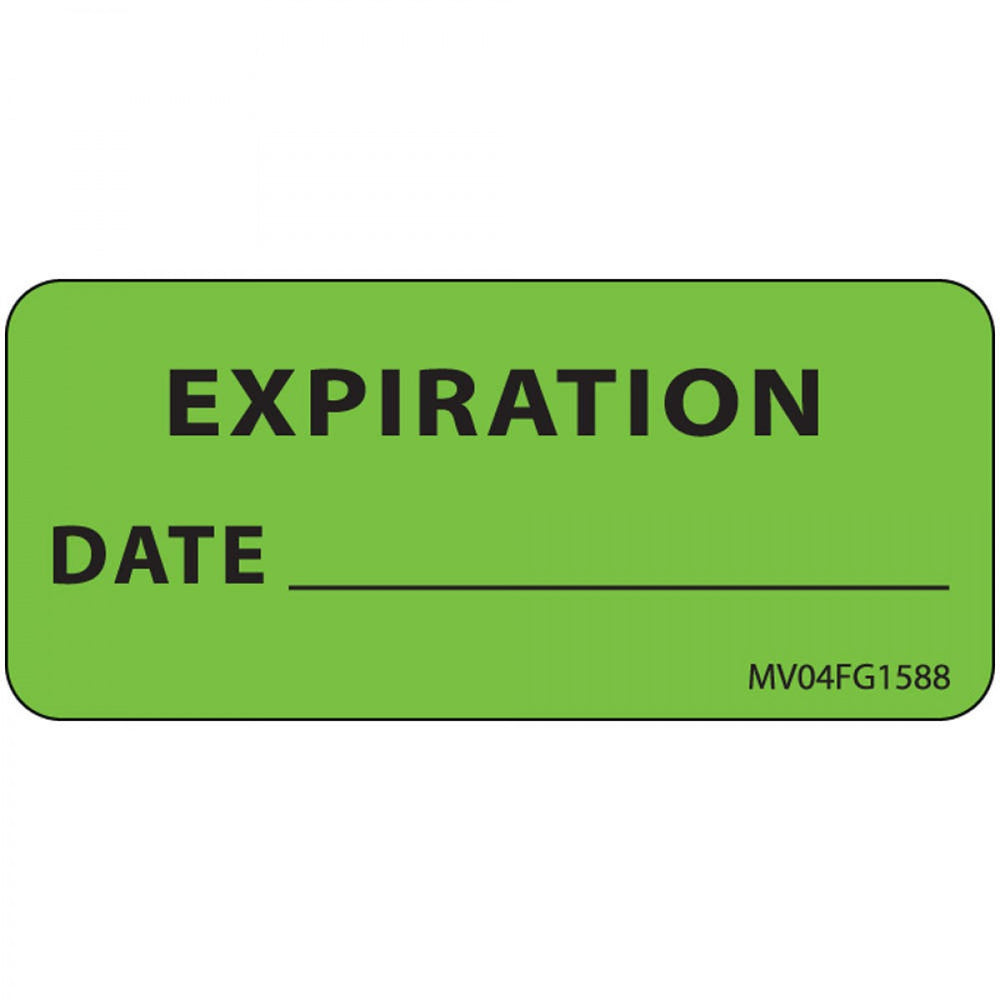 "Label Paper Removable Expiration Date 1"" Core 2 1/4"" X 1 Fl. Green 420 Per Roll"