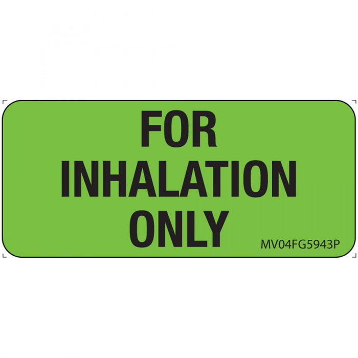 "Label Paper Permanent For Inhalation Only 1"" Core 2 1/4"" X 1 Fl. Green 420 Per Roll"