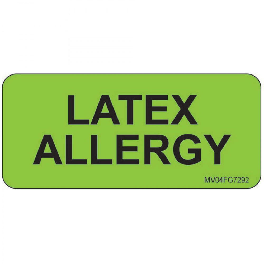 "Label Paper Removable Latex Allergy 1"" Core 2 1/4"" X 1 Fl. Green 420 Per Roll"