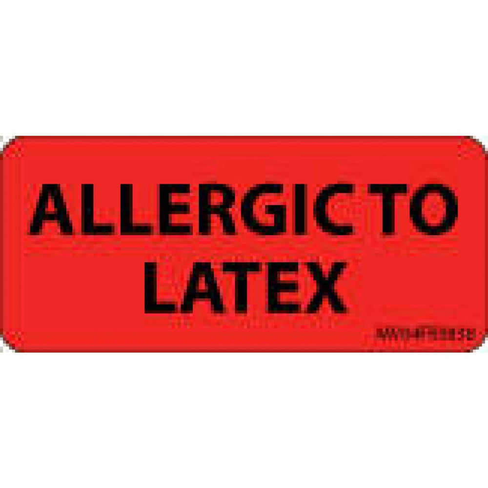 "Label Paper Permanent Allergic To Latex 1"" Core 2 1/4"" X 1 Fl. Red 420 Per Roll"