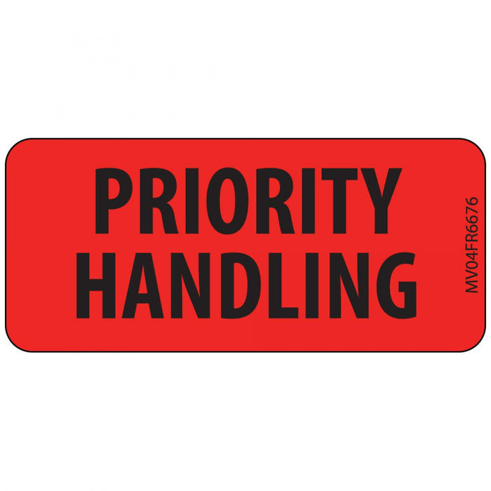 "Label Paper Permanent Priority Handling 1"" Core 2 1/4"" X 1 Fl. Red 420 Per Roll"