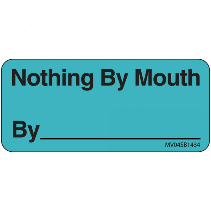 "Label Paper Removable Nothing By Mouth 1"" Core 2 1/4"" X 1 Blue 420 Per Roll"