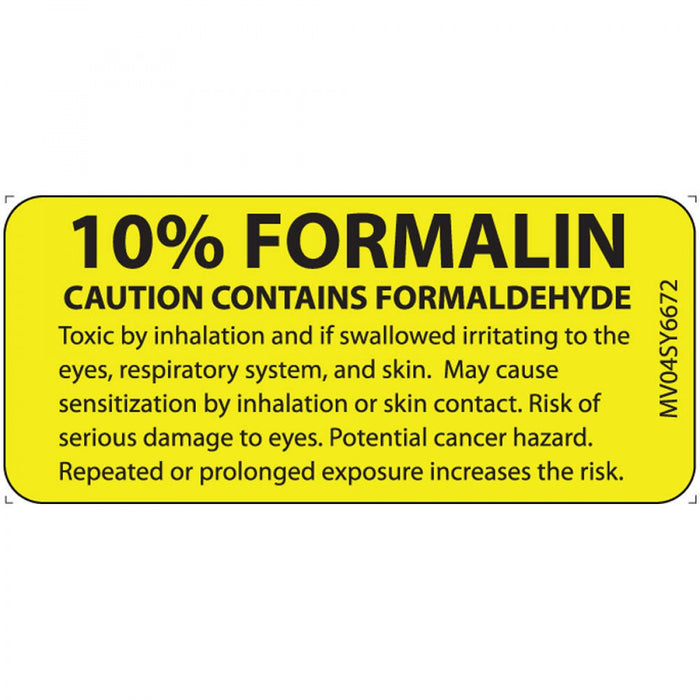 "Lab Communication Label (Paper, Permanent) 10% Formalin Caution 1 Core 2 1/4"" X 1 Yellow - 420 Per Roll"
