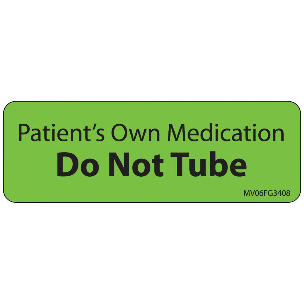 "Label Paper Removable Patients Own 1"" Core 2 15/16"" X 1 Fl. Green 333 Per Roll"