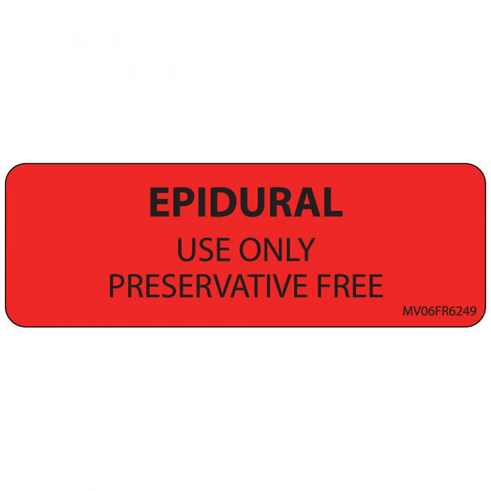 "Label Paper Permanent Epidural Use Only 1"" Core 2 15/16"" X 1 Fl. Red 333 Per Roll"