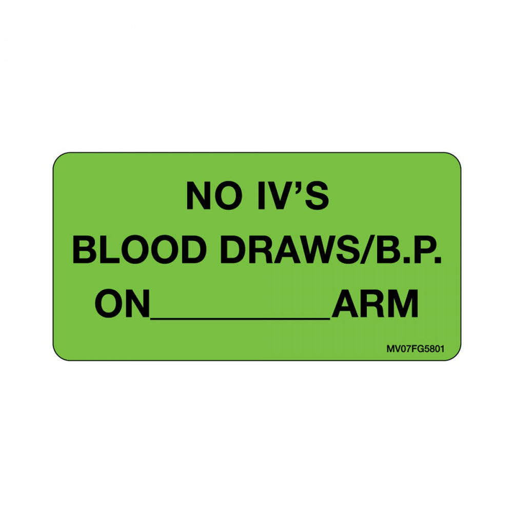 "Label Paper Removable No Ivs Blood 1"" Core 2 15/16"" X 1 1/2"" Fl. Green 333 Per Roll"