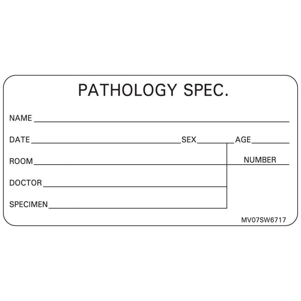"Label Paper Removable Pathology Spec. Name 1"" Core 2 15/16"" X 1 1/2"" White 333 Per Roll"