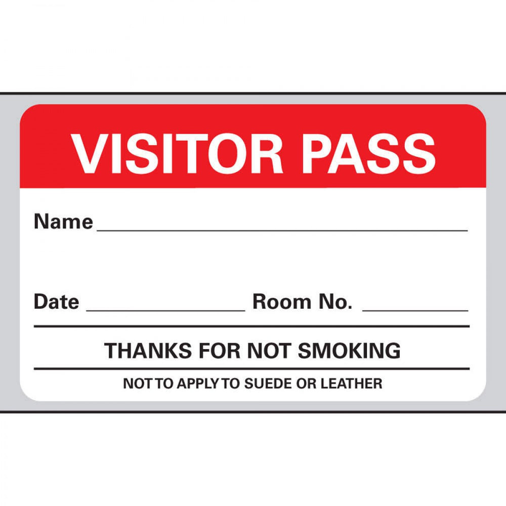 "Visitor Pass Label Paper Removable Visitor Pass 1"" Core 2 3/4 "" X 1 3/4"" White With Red 500 Per Roll, 2 Rolls Per Box"