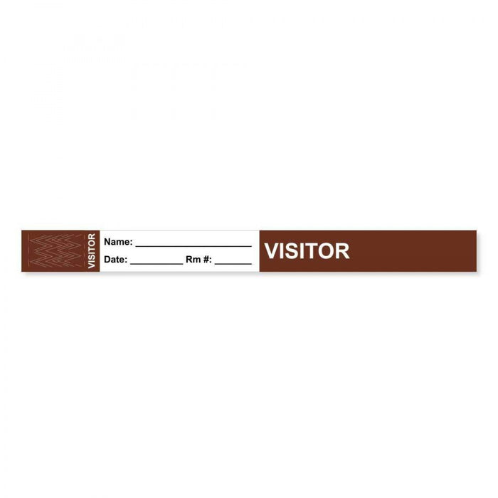 "Visitor Pass Wristband Tamper-Evident Tyvek Visitor ___ Name: 1"" X 10"" Adult Brown 1000 Per Case"