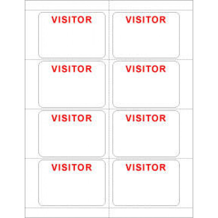"Visitor Pass Label Laser Paper Permanent ""Visitor Visitor"" 2 3 3/8"" X 2 1/3"" White 8 Per Sheet, 50 Sheets Per Package"