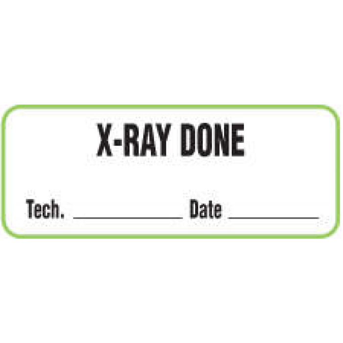"Label Paper Permanent X-Ray Done Tech. 2 1/4"" X 7/8"" White With Green 1000 Per Roll"