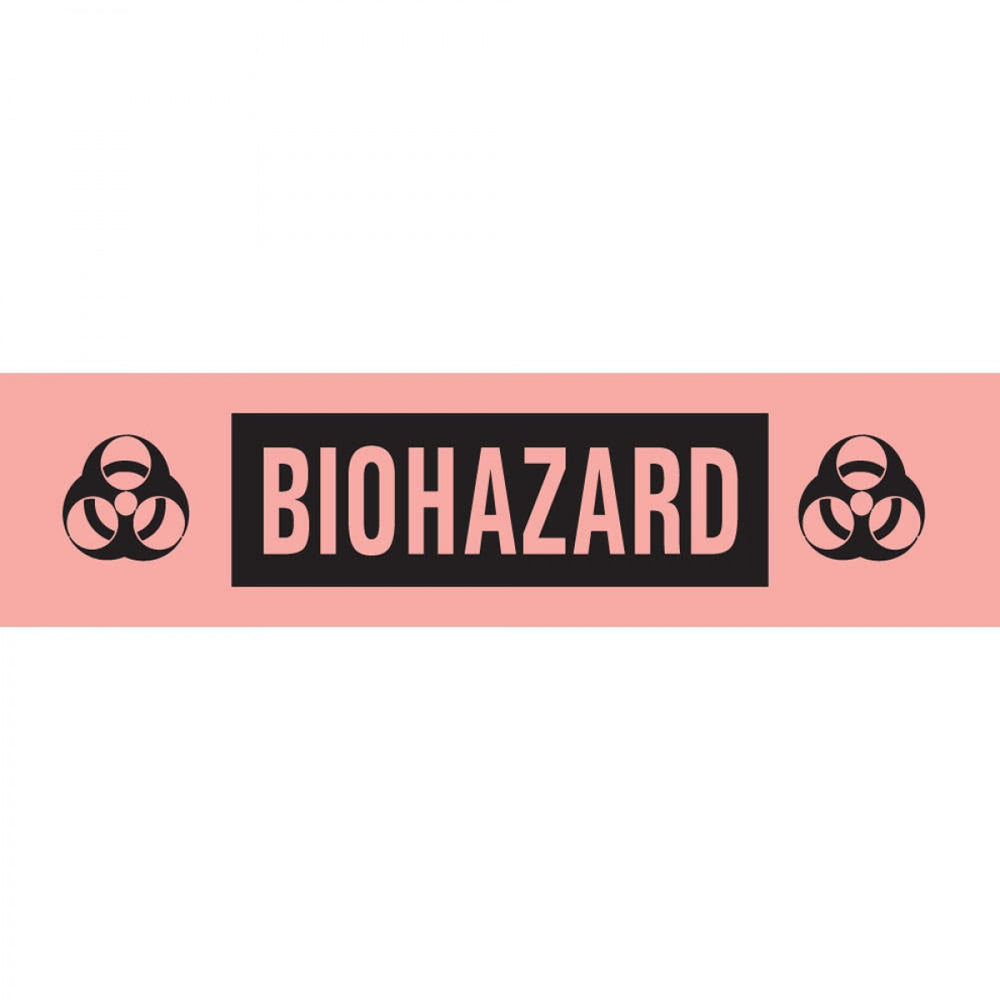 "Tape Removable Biohazard 1"" Core 1/2"" X 500"" Imprints Fl. Red 250 500 Inches Per Roll"