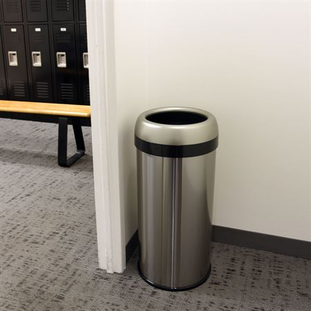 "Open-Top Waste Can with Dual-Deodorizer Filter 16gal - Oval - 16""W x 11.5""D x 28.5""H"