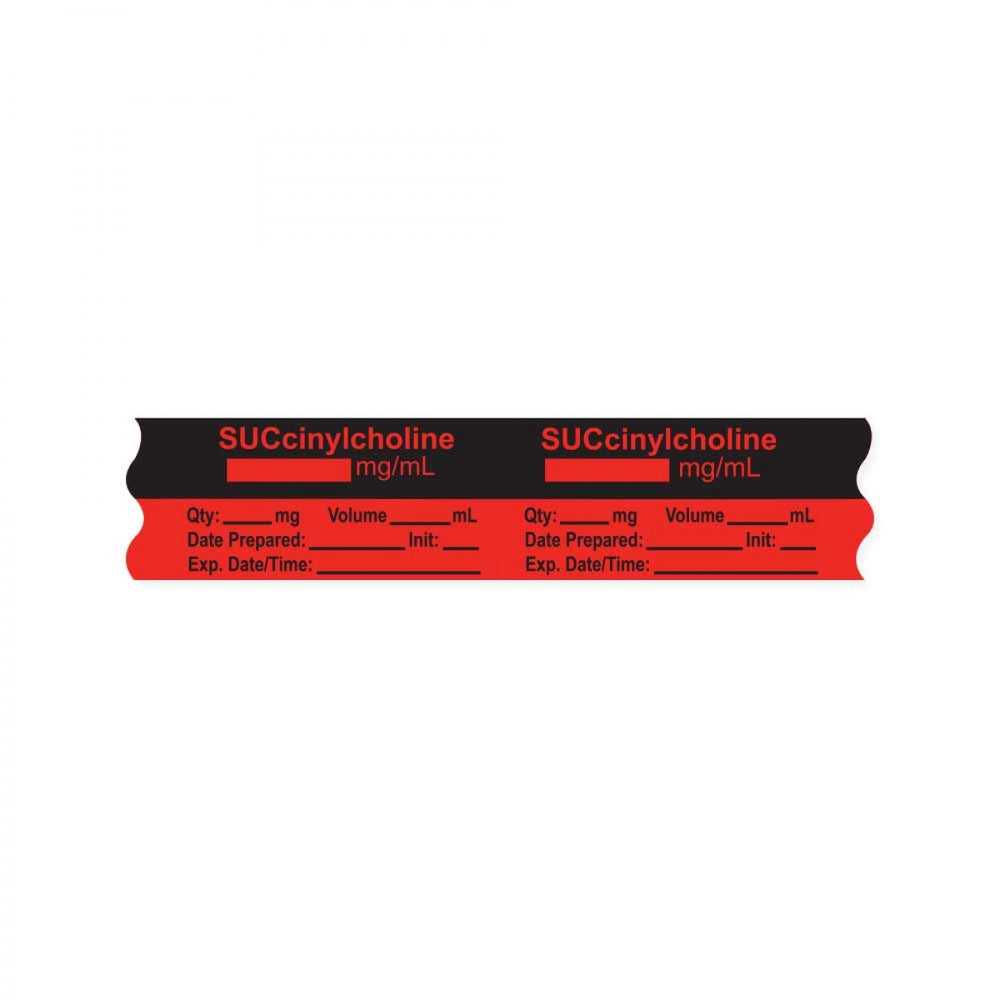 "Anesthesia Tape, With Experation Date, Time, And Initial, Removable, ""Succinylcholine Mg/Ml"", 1"" Core, 3/4"" X 500"", Fl. Red, 333 Imprints, 500 Inches Per Roll"