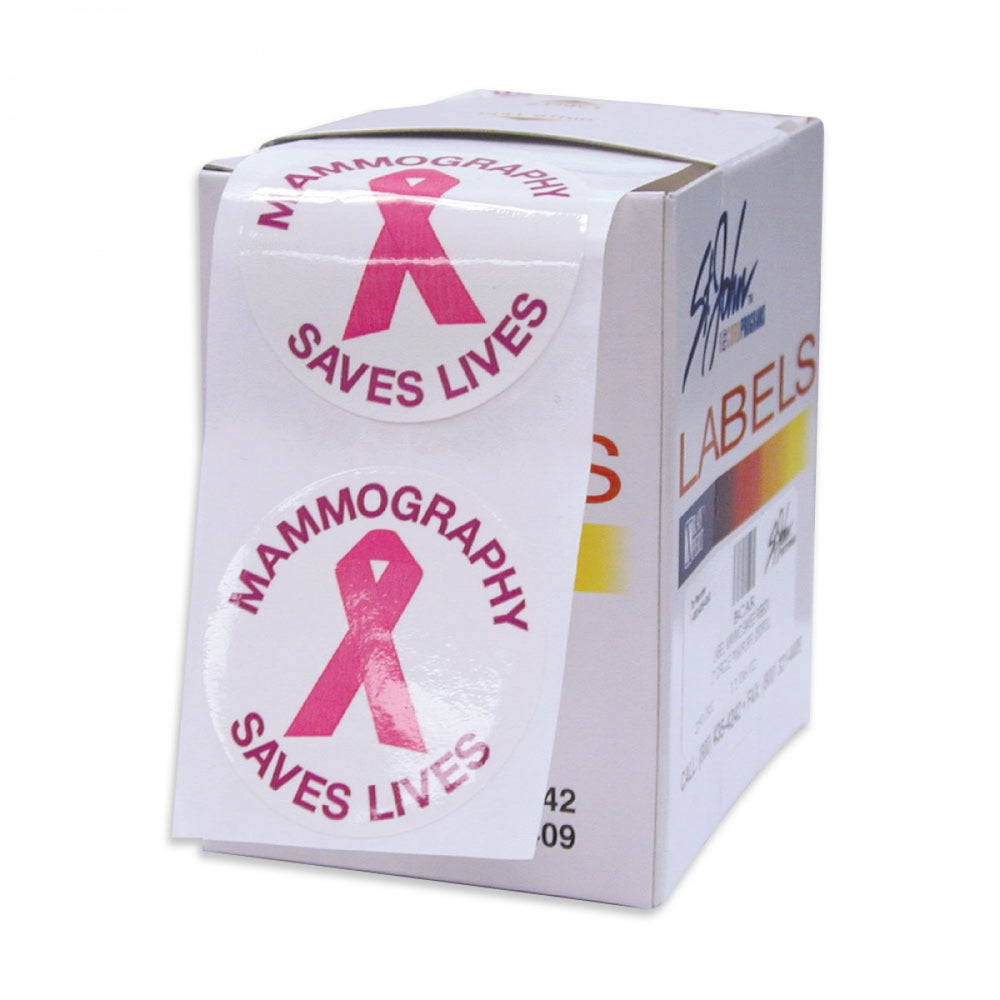 Mammography Marketing Aid Sticker Pre-Printed Multicolor 250/Roll