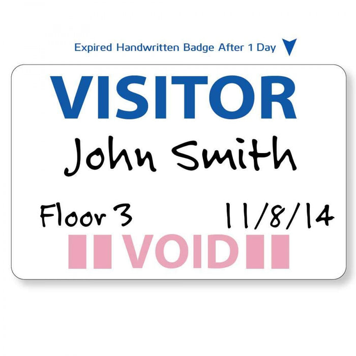 "Visitor Pass Label Self-Expiring Synthetic Removable Visitor 2 7/8"" X 1 7/8"" White 500 Per Package"