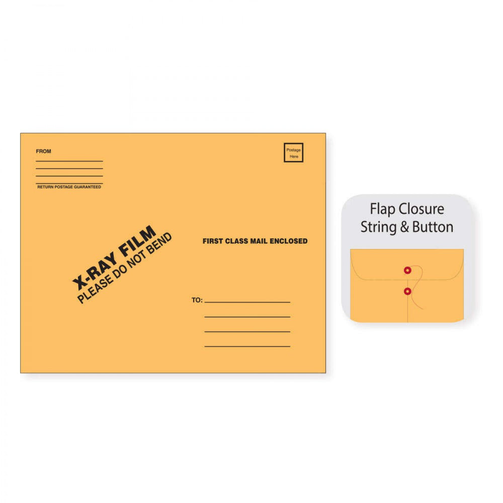 "X-Ray Film Mailer Strong & Button Open End W/ Black Print Material: 28# Brownkraft Dimensions: 15"" X 18"" 50 / Case"