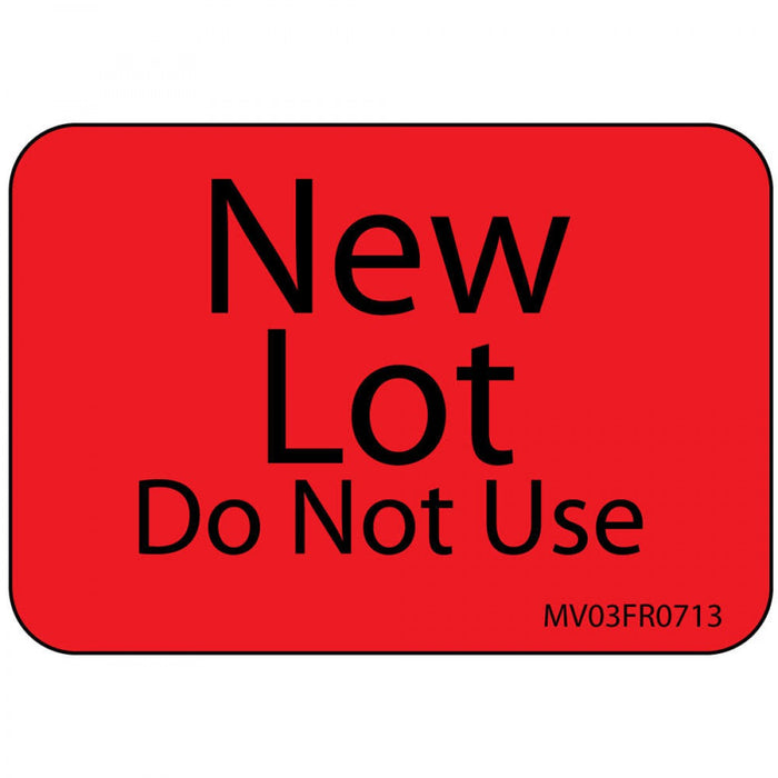 "Label Paper Permanent New Lot Do Not Use 1"" Core 1 7/16"" X 1 Fl. Red 666 Per Roll"