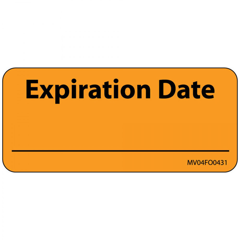 "Label Paper Removable Expiration Date 1"" Core 2 1/4"" X 1 Fl. Orange 420 Per Roll"