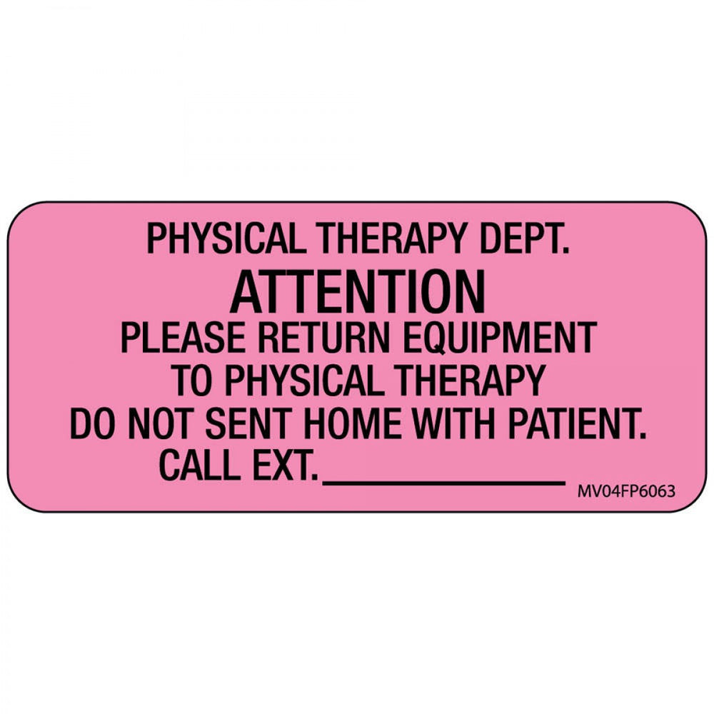 "Label Paper Removable Physical Therapy 1"" Core 2 1/4"" X 1 Fl. Pink 420 Per Roll"