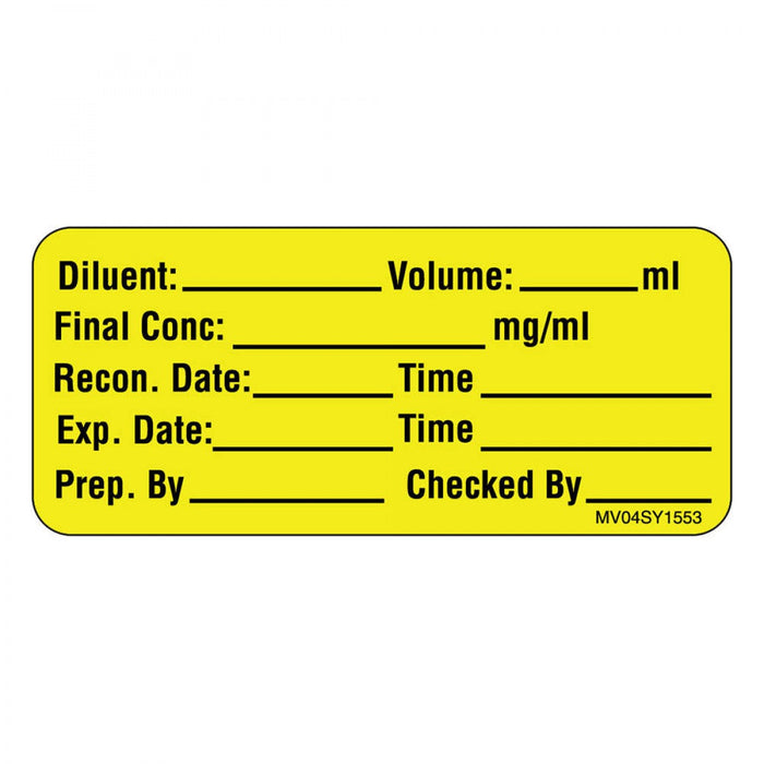 "Label Paper Permanent Diluent: Volume: Ml 1"" Core 2 1/4"" X 1 Yellow 420 Per Roll"