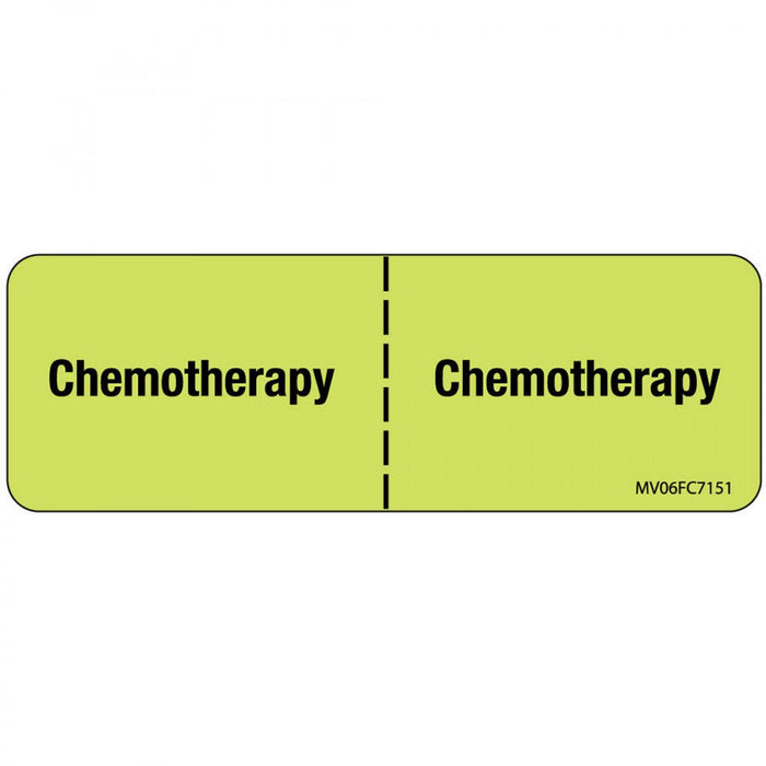"Label Paper Removable Chemotherapy : 1"" Core 2 15/16"" X 1 Fl. Chartreuse 333 Per Roll"