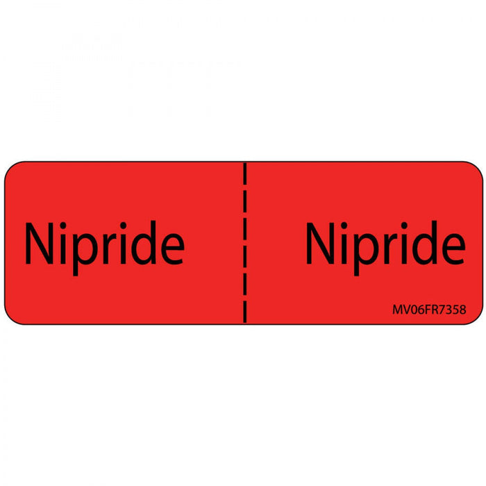"Label Paper Permanent Nipride : Nipride 1"" Core 2 15/16"" X 1 Fl. Red 333 Per Roll"