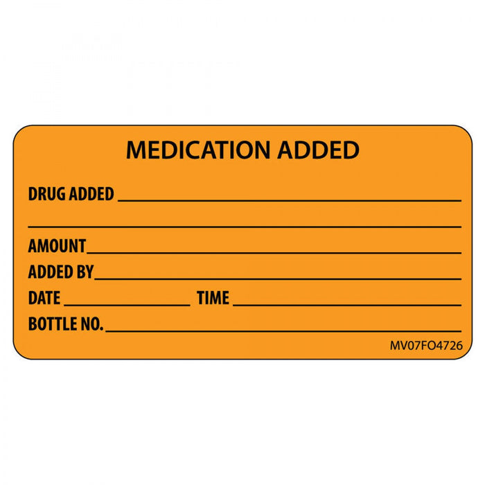 "Label Paper Removable Medication Added 1"" Core 2 15/16"" X 1 1/2"" Fl. Orange 333 Per Roll"