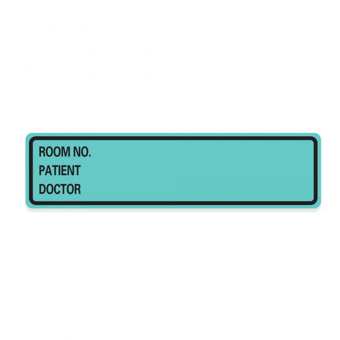"Label Paper Removable Room No. Patient 1"" Core 5 3/8"" X 1 3/8"" Aqua 200 Per Roll"