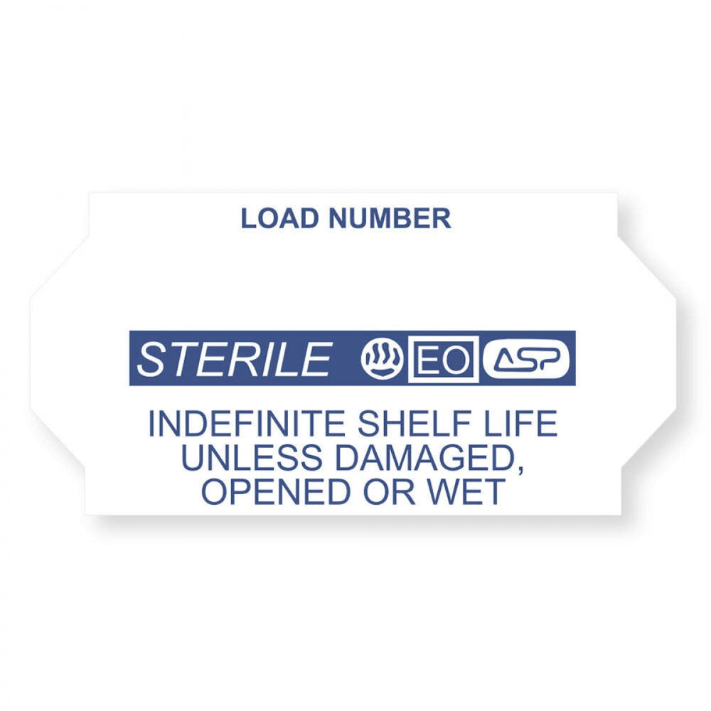 "Label, Sterrad | Compatible With Meto 2026, Tyvek, Permanent, ""Sterile"", 1-1/32 X 5/8, White With Blue, 1125 Per Roll, 12 Rolls Per Box"
