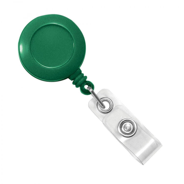 "Badge Reel 1-1/4"" Circle Plastic Green 25/Pack"