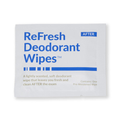 Refresh Deodorant Wipes Mammography Patient Wipe Lightly Scented Individually Packaged 50 Per Box
