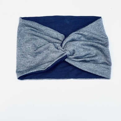 Headband Twist Reversible Grey Wide