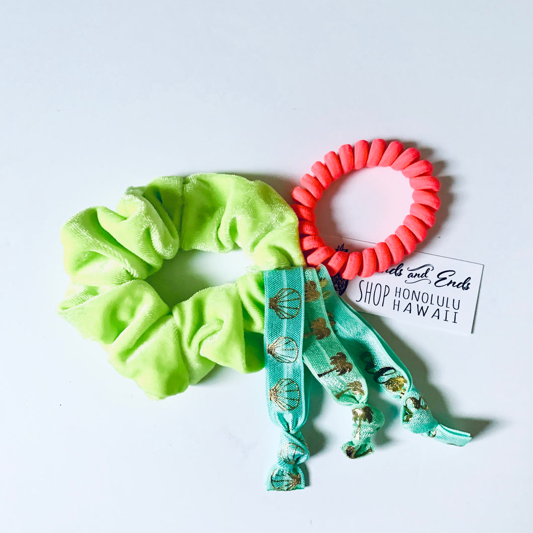 Scrunchie Set Assorted Neon