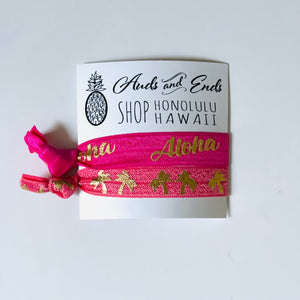 Hair Tie 2pc Hot Pink