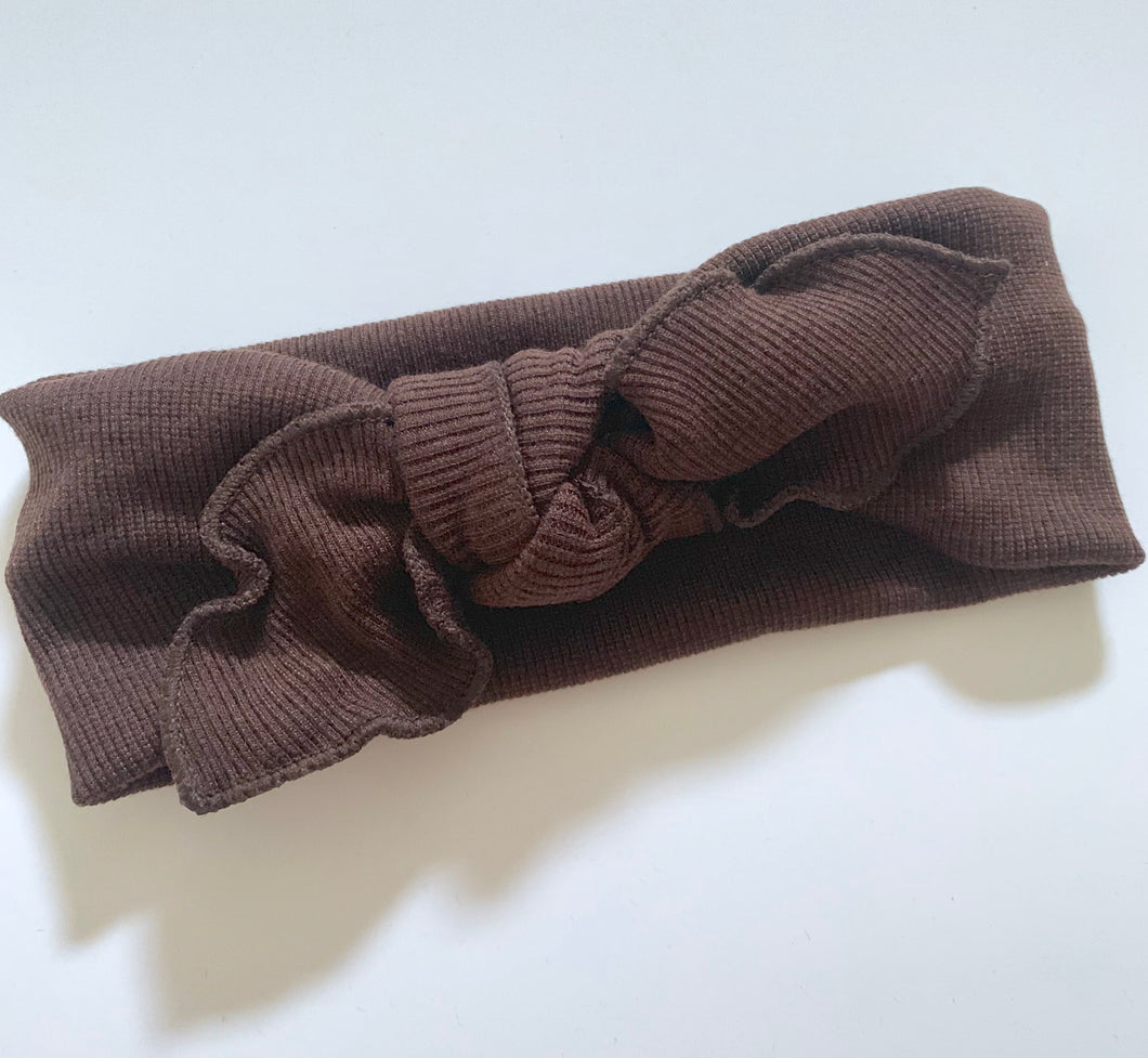 Knit bow knot Headband Cocoa