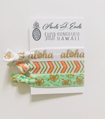 Hair Tie 3pc White Aloha