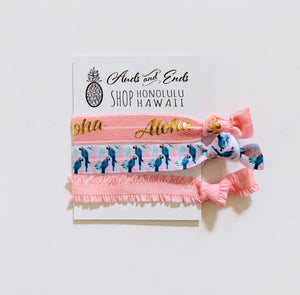 Hair Tie 3pc Pink
