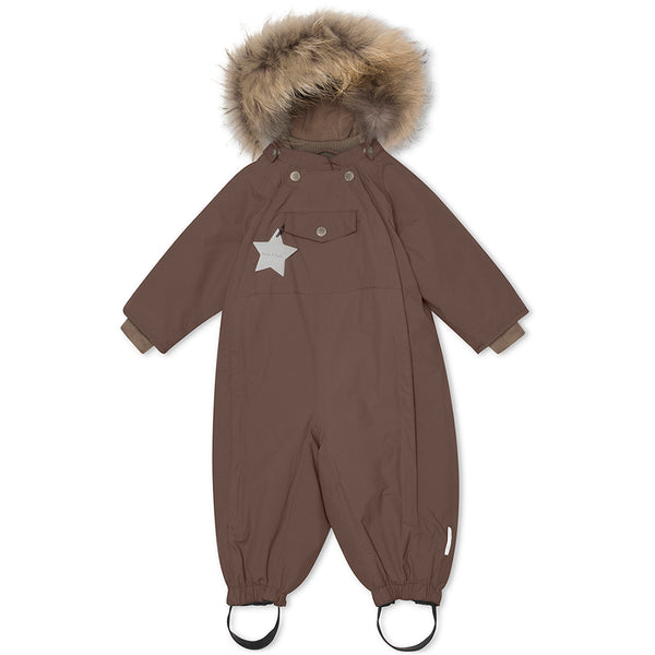 Wisti snowsuit with fur - Dark Choco