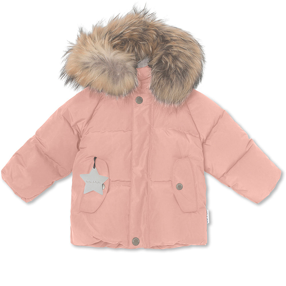 Woody downjacket with fur - Cameo Rose Brown
