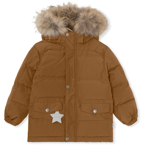 Wali downjacket with fur - Rubber Brown