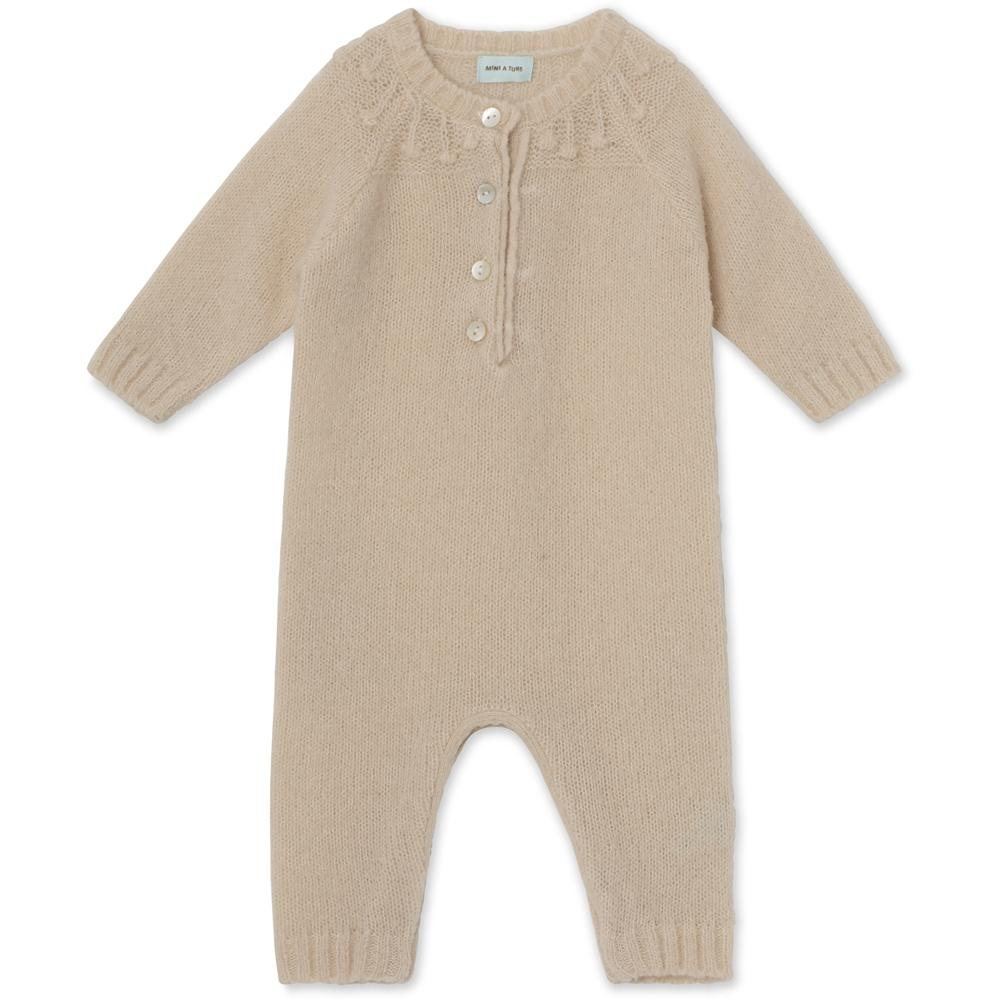 Ania Romper in Wool Blend - Sand Dollar