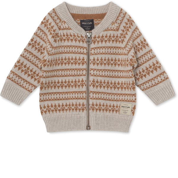Maximus Cardigan Merino wool - Light Brown Melange