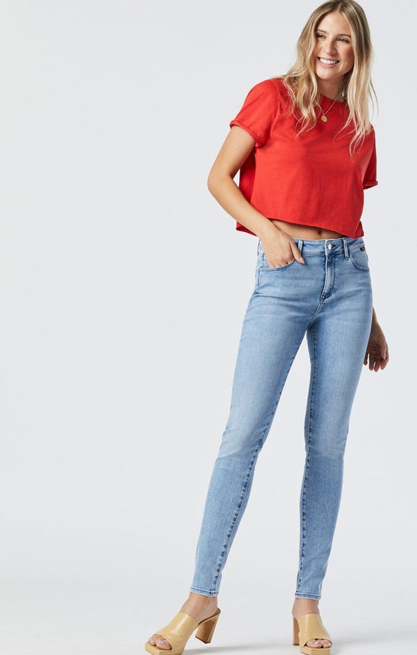 Mavi Jeans Alissa Sky Blue Brushed Super Skinny High Rise Denim Jeans