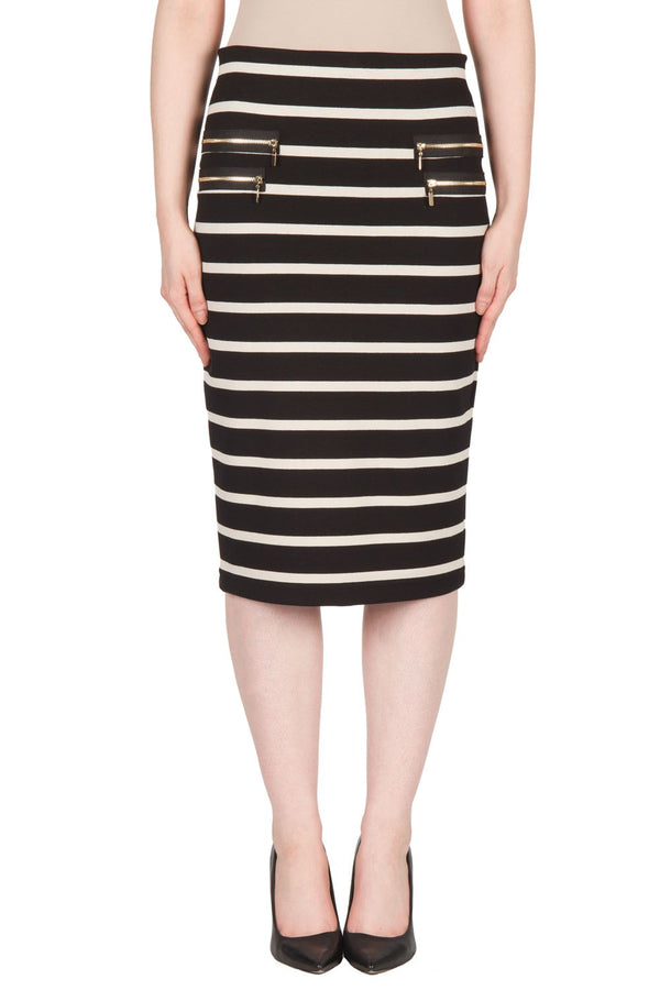 Joseph Ribkoff Black and Beige Striped Skirt