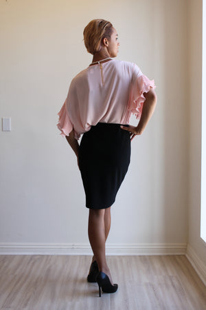 Joseph Ribkoff Crew Neck Chiffon Top with Pleated Ruffled Sleeves.