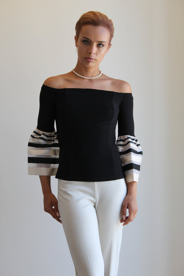 Joseph Ribkoff Off The Shoulder Top w/ Stripe on Sleeves