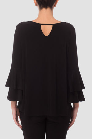 Joseph Ribkoff Black Top, Bell Sleeves