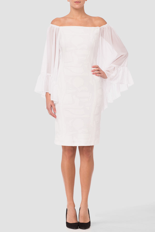 Joseph Ribkoff White Off Shoulder Dress 182497