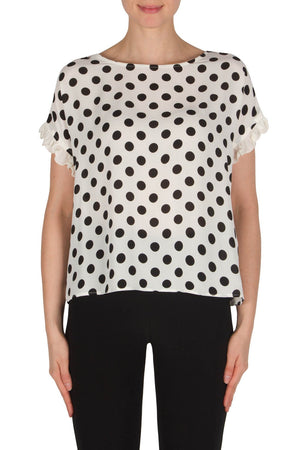 Joseph Ribkoff Polkadot Short Sleeve Top
